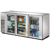"""True TBB-24GAL-72G-S-LD 72"""" Stainless Steel Glass Door Back Bar Refrigerator with Galvanized Top and LED Lighting - 24"""" Deep"""
