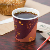 4 oz. Poly Paper Hot Cup with Coffee Design - 1000 / Case