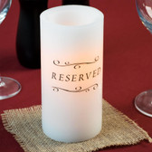 "6"" White Programmable Flameless Real Wax Pillar Candle with Reserved Decal - 6/Case"