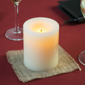 "4"" Cream Programmable Flameless Real Wax Pillar Candle - 6/Case"