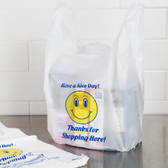 1/6 Size White Happy Face Heavy-Duty Plastic T-Shirt Bag500/case