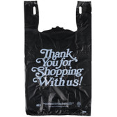 Black Thank You Heavy-Duty Plastic T-Shirt Bag - 400/Case