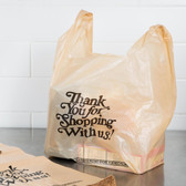 1/6 Size Beige Thank You Heavy-Duty Plastic T-Shirt Bag 600/CASE