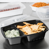 2-Compartment Rectangular Microwavable Heavyweight Container with Lid - 150/Case
