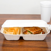 Biodegradable,Compostable  2 Compartment Takeout Container 200/case