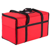 "22"" x 12"" x 12"" Red Insulated Nylon Food Delivery Bag"