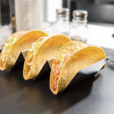 """American Metalcraft TSH3 3 Compartment Stainless Steel Taco Holder 4/"""" x 8/"""""""