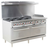 "S60-G24-N Natural Gas 6 Burner 60"" Range with 24"" Griddle and 2 Standard Ovens - 280,000 BTU"