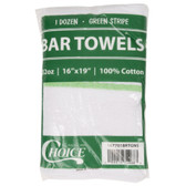 "Choice 16"" x 19"" Green Striped 32 oz. 100% Cotton Bar Towel - 12/Pack"