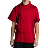 Tomato Red Customizable Chef Jacket with Short Sleeves
