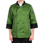 Mint Green Customizable Chef Jacket with 3/4 Sleeves-Poly-Cotton