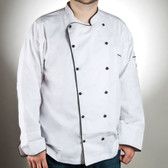 Customizable Poly-Cotton Brigade Chef Jacket with Black Piping