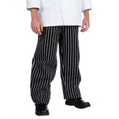 Black EZ Fit Chef Pants with White Pinstripes - Poly-Cotton Blend
