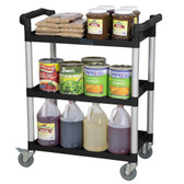 "32"" x 16"" x 38"" Black 3 Shelf Utility / Bus Cart"