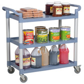 "42"" x 20"" x 38"" Gray 3 Shelf Utility / Bussing Cart"