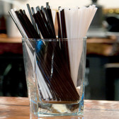"Choice 7 7/8"" Black Unwrapped Collins Straw - 5000/Case"
