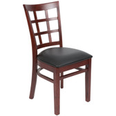 "Lancaster Table & Seating Mahogany Wooden Window Back Chair with 2 1/2"" Padded Seat"