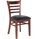 "Lancaster Table & Seating Mahogany Finish Wooden Ladder Back Chair with 2 1/2"" Padded Seat"