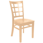 Lancaster Table & Seating Natural Finish Wooden Window Back Cafe Chair