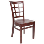 Lancaster Table & Seating Mahogany Finish Wooden Window Back Cafe Chair