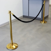 "Lancaster Table & Seating 40"" Gold Rope-Style Crowd Control / Guidance Stanchion Set with 8' Black Rope"