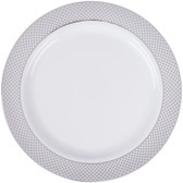 "Silver Visions 10"" White Plastic Plate with Silver Lattice Design - 120/Case"