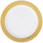 "Silver Visions 6"" White Plastic Plate with Gold Lattice Design - 150/Case"