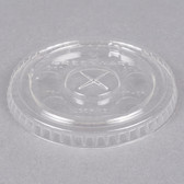 Fabri-Kal Greenware LGC9/10 Compostable Clear Plastic Lid with Straw Slot - 2500/Case