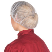 """Royal Paper RP110NW24 24"""" White Disposable Bouffant Cap - 100/Pack"""