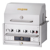 "Crown Verity BI-30PKG Liquid Propane 30"" Stainless Steel Built In Outdoor BBQ Grill / Charbroiler with Roll Dome Package"