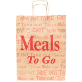 """Duro Natural Kraft Paper Shopping Bag with Handles - """"Meals to Go"""" Printing 12"""" x 9"""" x 16"""" - 200/Bundle"""