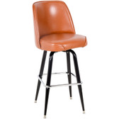 "Lancaster Table & Seating Deluxe Brown Barstool with 19"" Wide Bucket Seat"