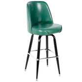 "Lancaster Table & Seating Deluxe Green Barstool with 19"" Wide Bucket Seat"