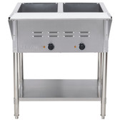 ServIt EST-2WE Two Pan Open Well Electric Steam Table with Undershelf - 120V, 1000W