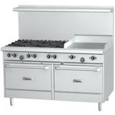 """Garland G60-8G12RS 8 Burner 60"""" Range with 12"""" Griddle, Standard Oven, and Storage Base - 320,000 BTU"""