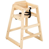 Lancaster Table & Seating Unassembled Stacking Restaurant Wood High Chair with Natural Finish