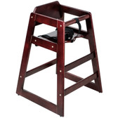 Lancaster Table & Seating Unassembled Stacking Restaurant Wood High Chair with Mahogany Finish
