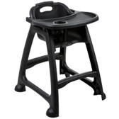 Lancaster Table & Seating Ready-To-Assemble Black Stackable Restaurant High Chair with Tray (No Wheels)