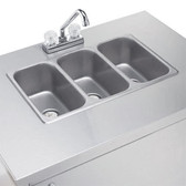 Crown Verity CVPHS-3 Triple Bowl Portable Hand Sink Cart