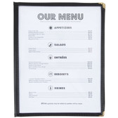 "8 1/2"" x 11"" Black Two Pocket Clear Menu Cover"