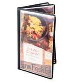 "8 1/2"" x 14"" Menu Solutions SE340D-BLACK Triple Panel Booklet Menu Jacket with 6 Views - Black"