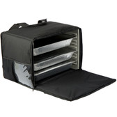 "Cres Cor CHB6-1220 21"" x 15"" x 14"" Black Soft-Sided Heavy-Duty Heated / Insulated Food Delivery Bag - Holds (4) Full Size Food Pans - 120V"