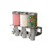"Rosseto EZ533 EZ-SERV 2.47 Liter Triple Canister Wall-Mounted Topping / Candy Dispenser - 17 7/8"" x 7"" x 15 1/4"""