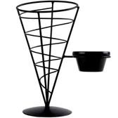 "Tablecraft ACR57 Vertigo Round Appetizer Wire Cone Basket with 1 Ramekin - 5"" x 7"""
