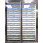 "Styleline CL2472-LT Classic Plus 24"" x 72"" Walk-In Freezer Merchandiser Doors with Shelving - Anodized Bright Silver, Right Hinge - 2/Set"