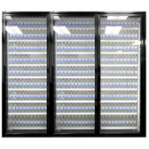 "Styleline CL2472-LT Classic Plus 24"" x 72"" Walk-In Freezer Merchandiser Doors with Shelving - Satin Black, Right Hinge - 3/Set"