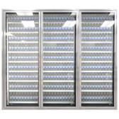 "Styleline CL2672-LT Classic Plus 26"" x 72"" Walk-In Freezer Merchandiser Doors with Shelving - Anodized Satin Silver, Left Hinge - 3/Set"
