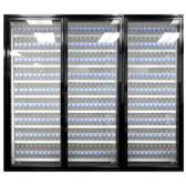 """Styleline CL2672-LT Classic Plus 26"""" x 72"""" Walk-In Freezer Merchandiser Doors with Shelving - Satin Black, Left Hinge - 3/Set"""