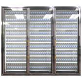"Styleline CL3072-LT Classic Plus 30"" x 72"" Walk-In Freezer Merchandiser Doors with Shelving - Anodized Bright Silver, Left Hinge - 3/Set"