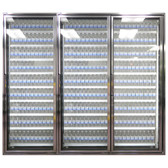 """Styleline CL3080-LT Classic Plus 30"""" x 80"""" Walk-In Freezer Merchandiser Doors with Shelving - Anodized Bright Silver, Right Hinge - 3/Set"""